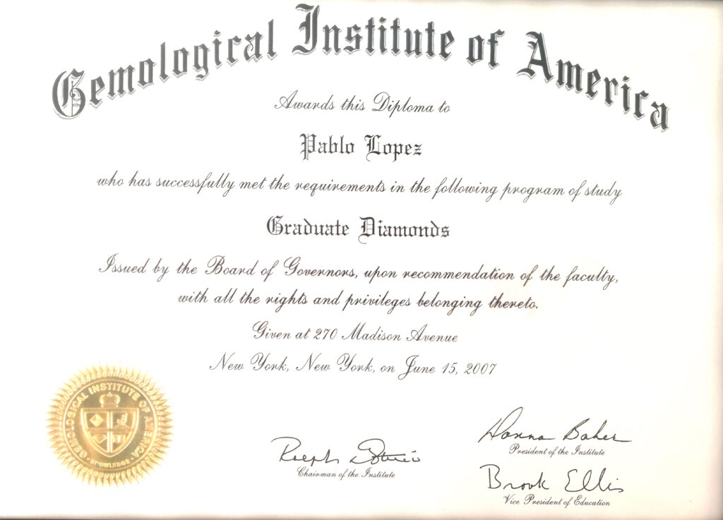 Diploma especialista diamantes