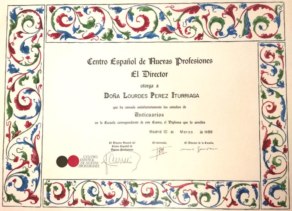 Diploma arte y Antigüedades