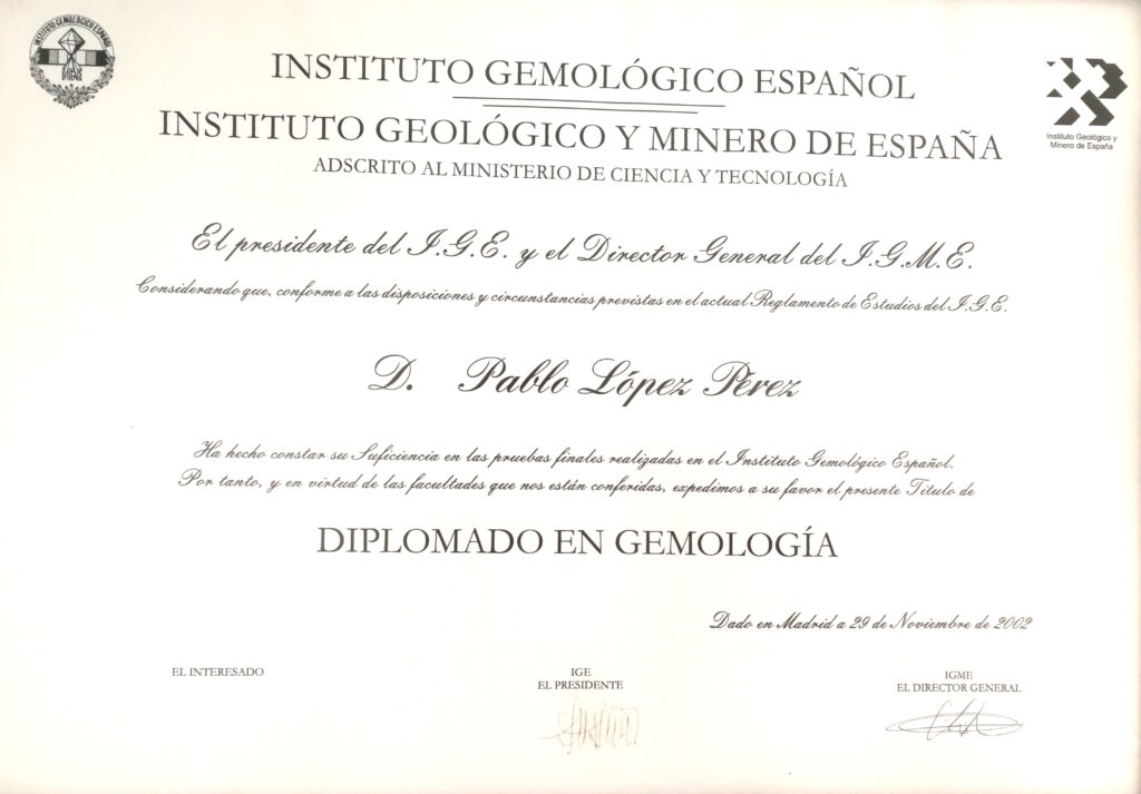 Diploma gemologia